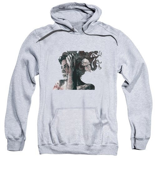 Beneath Broken Earth - Red Wine - Street Art Drawing, Woman With Leaves And Tattoos Sweatshirt