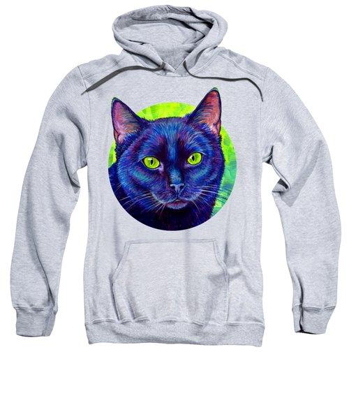 Black Cat With Chartreuse Eyes Sweatshirt