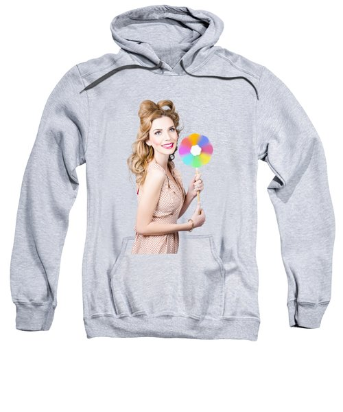 Blonde Girl Holding Windmill Fan. Natural Energy Sweatshirt