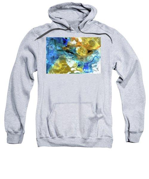 Blue And Yellow Abstract Art - Blue River - Sharon Cummings Sweatshirt