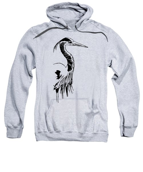 Blue Heron On Waves Sweatshirt