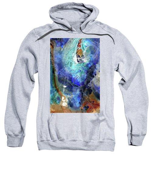 Blue Modern Abstract Art - Desires - Sharon Cummings Sweatshirt