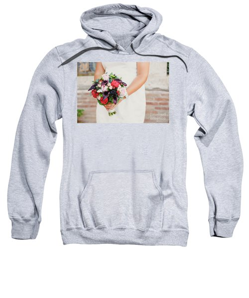 Bridal Bouquet Held By Her With Her Hands At Her Wedding Sweatshirt