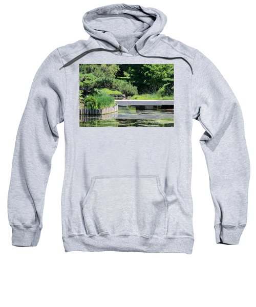 Bridge Over Pond In Japanese Garden Sweatshirt