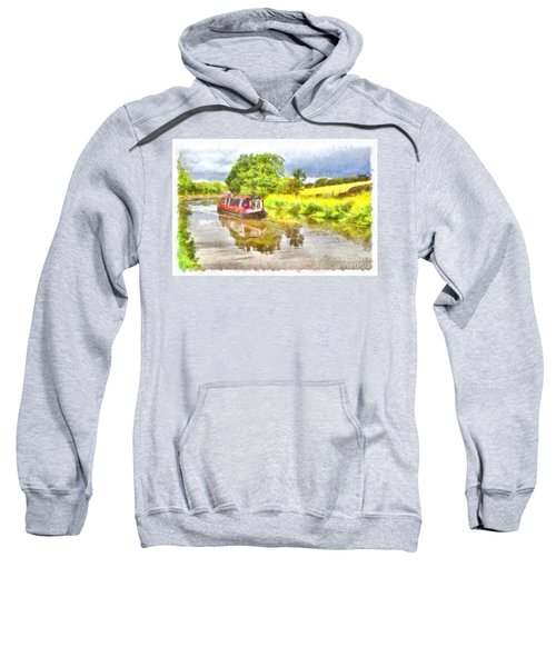 Canal Boat On The Leeds To Liverpool Canal Sweatshirt