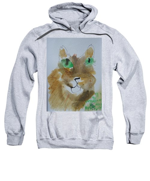 Cat Face Yellow Brown With Green Eyes Sweatshirt