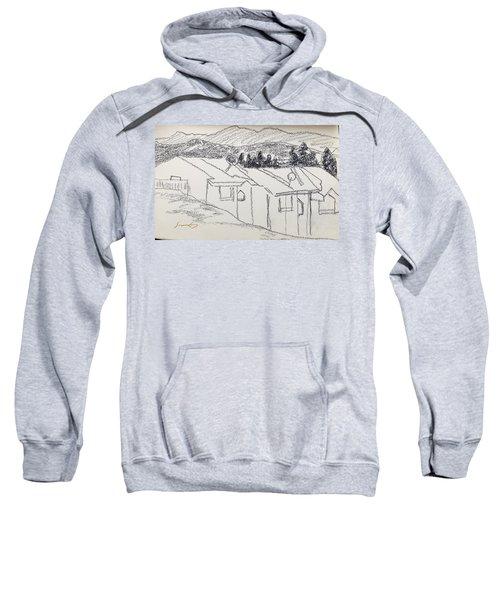 Charcoal Pencil Houses1.jpg Sweatshirt