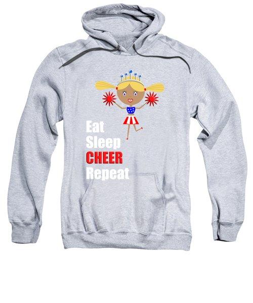 Cheerleader And Pom Poms With Text Eat Sleep Cheer Sweatshirt