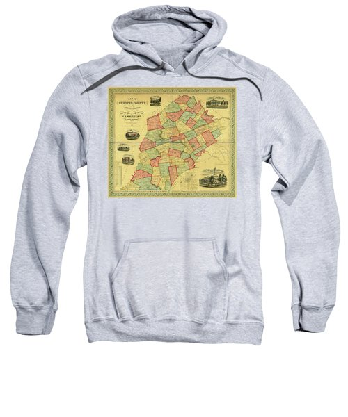 Chester County Pennsylvania Map 1856 Sweatshirt