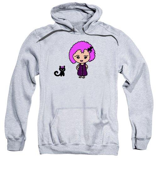 Chibu Girl And Cat Whimsy Sweatshirt