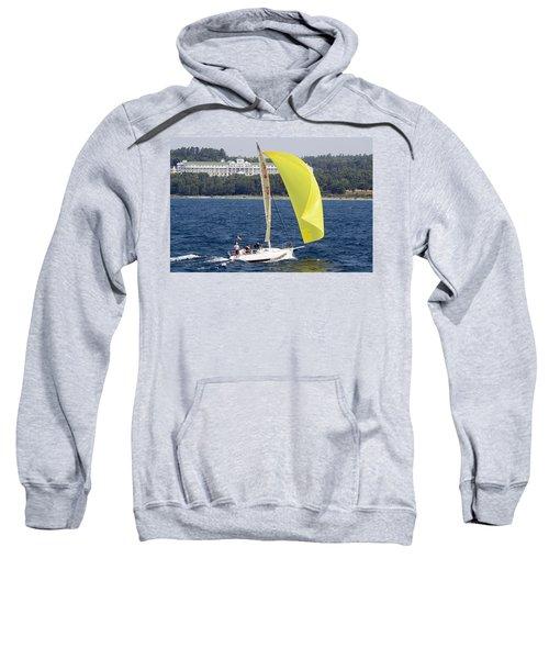 Chicago To Mackinac Yacht Race Sailboat With Grand Hotel Sweatshirt