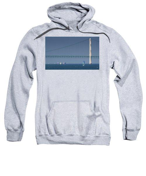 Chicago To Mackinac Yacht Race Sailboats With Mackinac Bridge Sweatshirt