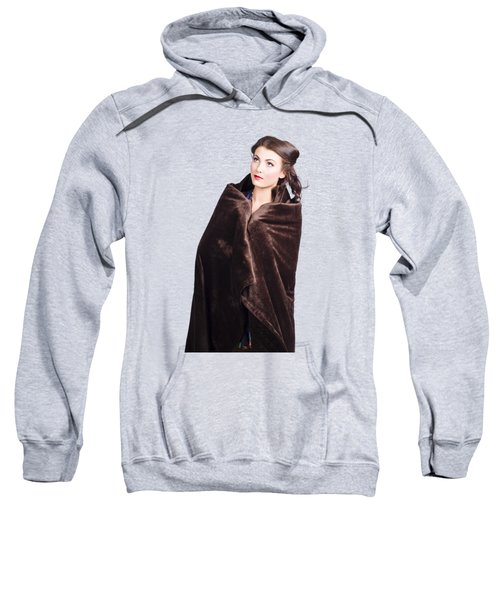 Sweatshirt featuring the photograph Cold Girl Feeling The Chill Of Winter In Blanket by Jorgo Photography - Wall Art Gallery