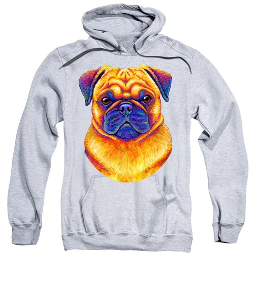 Colorful Rainbow Pug Dog Portrait Sweatshirt