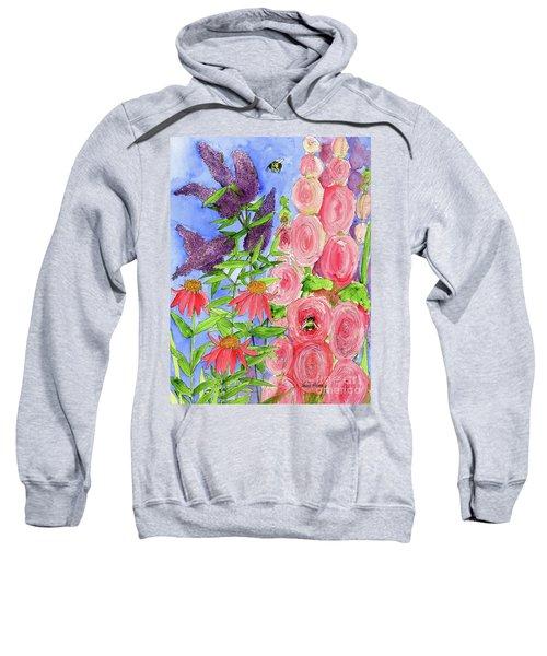 Cottage Garden Hollyhock Bees Blue Skie Sweatshirt