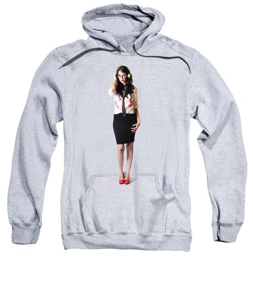Sweatshirt featuring the photograph Creepy Female Zombie With Headphones by Jorgo Photography - Wall Art Gallery