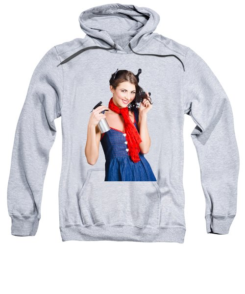 Cute Girl Model Styling A Hairdo. Pinup Your Hair Sweatshirt