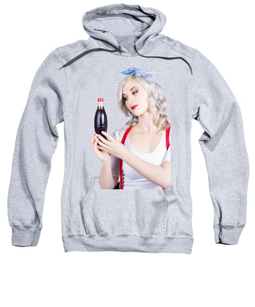 Cute Pin Up Girl With Soda Bottle. Vintage Cafe Sweatshirt