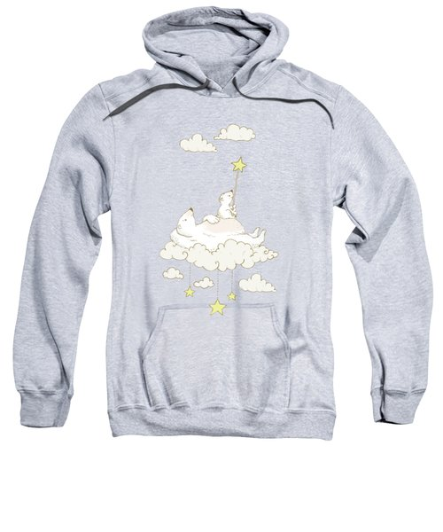 Cute Polar Bears On Cloud Whimsical Art For Kids Sweatshirt