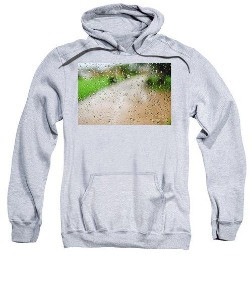 Drops Of Rain On An Autumn Day On A Glass. Sweatshirt