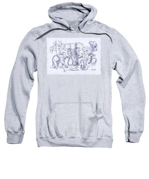 Elephant And Cattle Egrets Sketches Sweatshirt