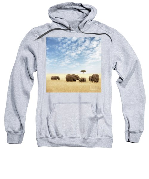 Elephant Group In The Grassland Of The Masai Mara Sweatshirt