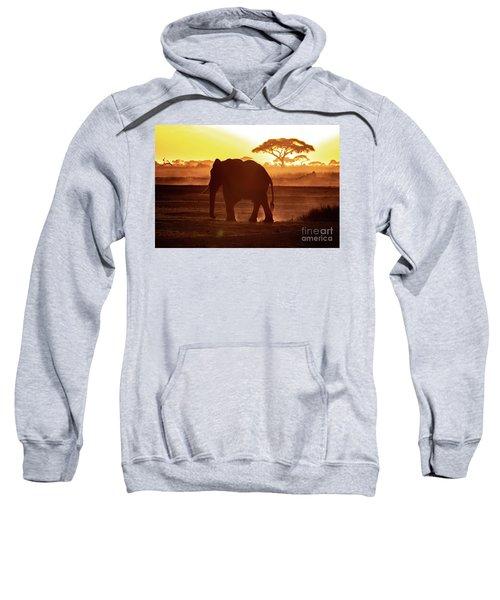 Elephant Walking Through Amboseli At Sunset Sweatshirt