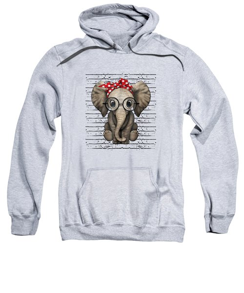 Elephants With Bandana Headband And Glasses Cute T-shirt Sweatshirt