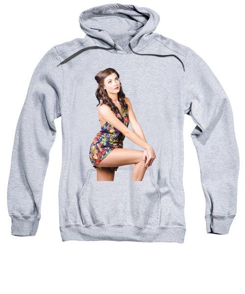Fashionable Woman Looking Up On Tan Background  Sweatshirt