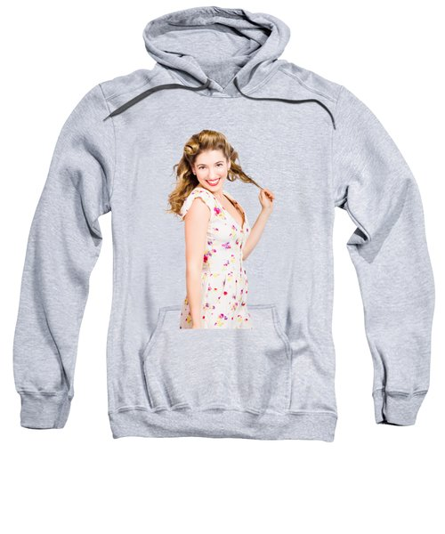Female Model With Perfect Skin And Curly Hairstyle Sweatshirt