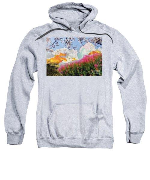 Field Of Glory Torn Paper Landscape Collage Sweatshirt