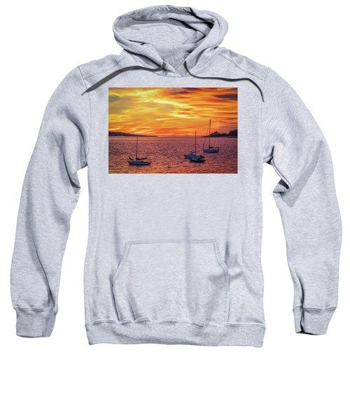 Fiery Sunrise Over Casco Bay Sweatshirt