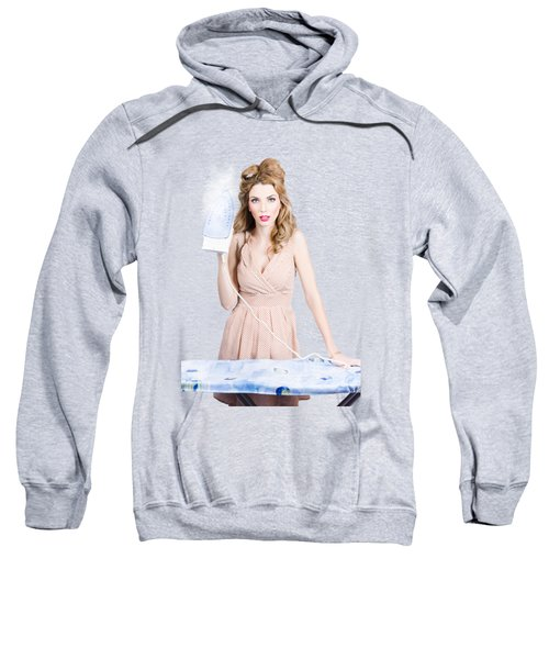 Fifties Housewife Woman Ironing Clothes Sweatshirt