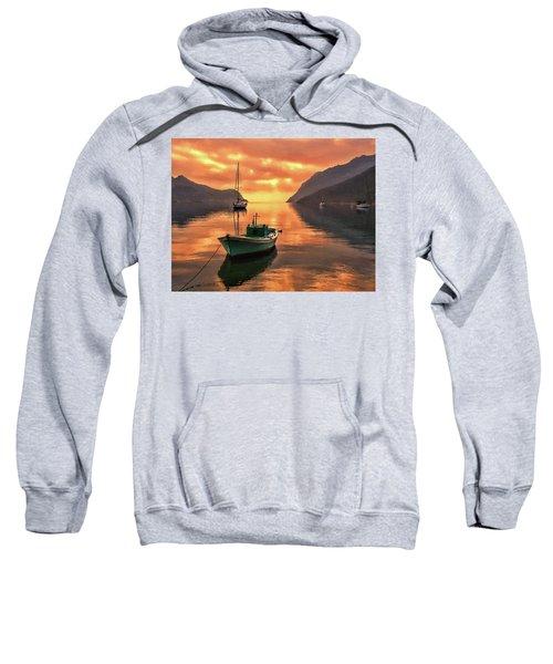 Fishing Boats At Sunset Simi Greek Islands-dwp40406001 Sweatshirt