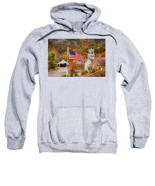 Flag Flying Over The Stark Covered Bridge Sweatshirt