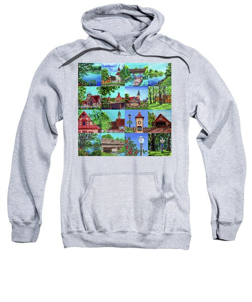 Frankenmuth Downtown Michigan Painting Collage I Sweatshirt