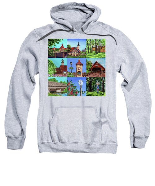Frankenmuth Downtown Michigan Painting Collage Iv Sweatshirt