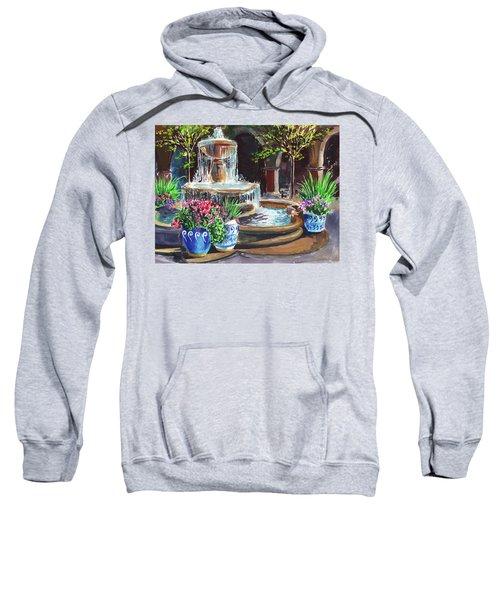 Garden Fountain Impressionism In Watercolor And Gouache  Sweatshirt