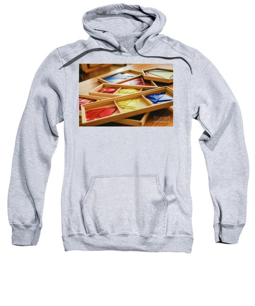 Geometric Material In Montessori Classroom For The Learning Of Children In Mathematics Area. Sweatshirt