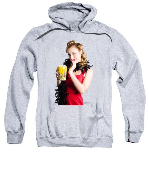 Glamorous Woman Holding Popcorn Sweatshirt