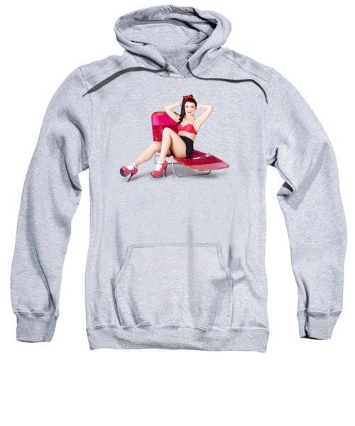 Glamour Pin-up Girl. Retro Summer Fashion Sweatshirt