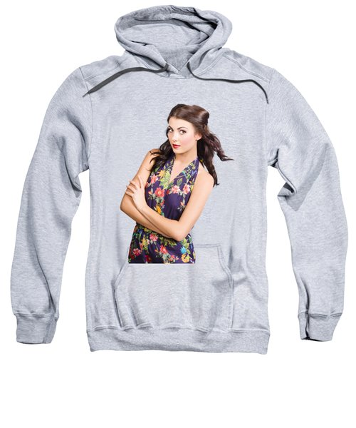 Glamour Portrait Of Beautiful Woman Makeup Model Sweatshirt