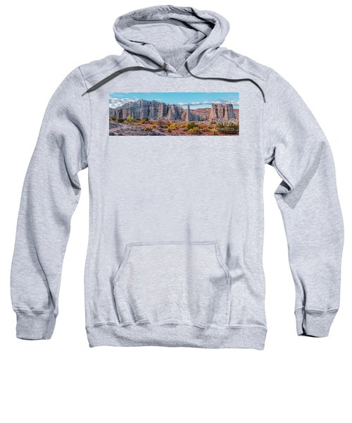 Golden Hour Fall Panorama Of Plaza Blanca - Abiquiu Rio Arriba County New Mexico Sweatshirt