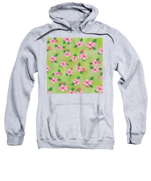 Green Batik Tropical Multi-foral Print Sweatshirt