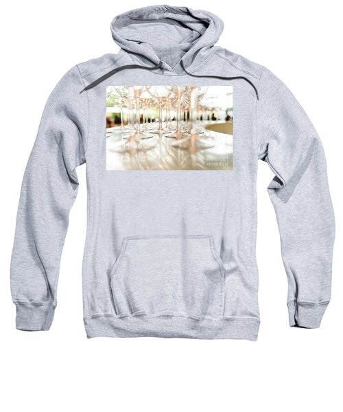 Group Of Empty Transparent Glasses Ready For A Party In A Bar. Sweatshirt