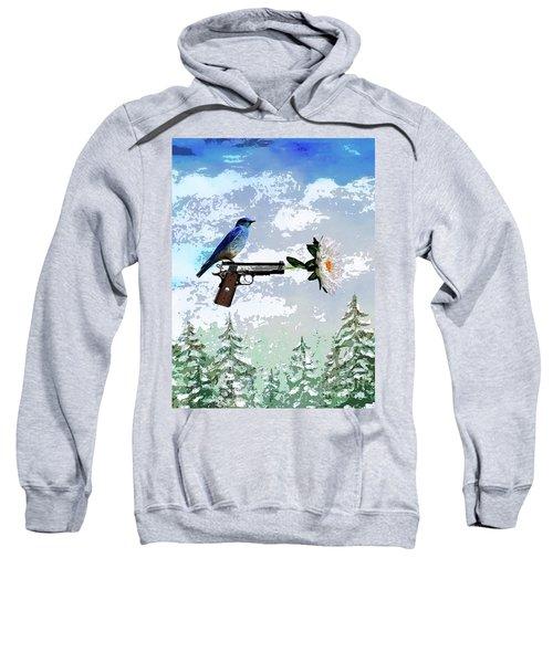 Bluebird Of Happiness- Flower In A Gun Sweatshirt