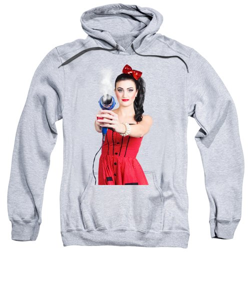 Hairdresser Woman Shooting A Cool Haircut In Style Sweatshirt