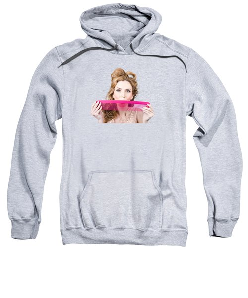 Happy Hairstyle Pinup Woman Smiling With Hair Comb Sweatshirt