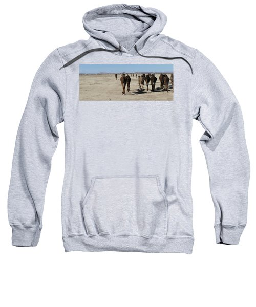 Herd Of Camels Crossing The Highway Near  Rissani Sweatshirt