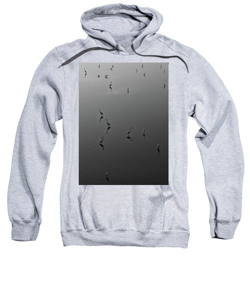 Herons On Lake 367 In Black And White Sweatshirt